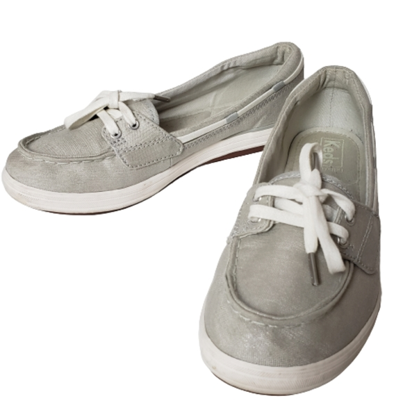 Keds Glimmer Lurex Silver Metallic Slip On Shoe